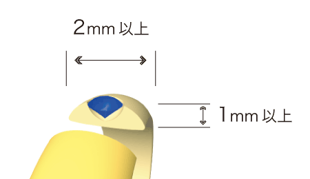 リング外側に埋め込む場合、リング本体の厚み1mm以上、幅2mm以上必要