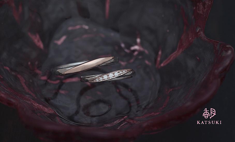 プラチナとピンクゴールドのコンビにこだわったフルオーダー結婚指輪