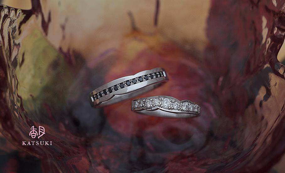 ダイヤモンドの輝きが華やかなフルオーダー結婚指輪