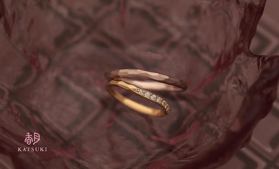 """オリジナル結婚指輪 """"アヴェク・トワ""""  ¥74.200-/税別~   ◆シルバー制作可:¥15.000/税別~"""