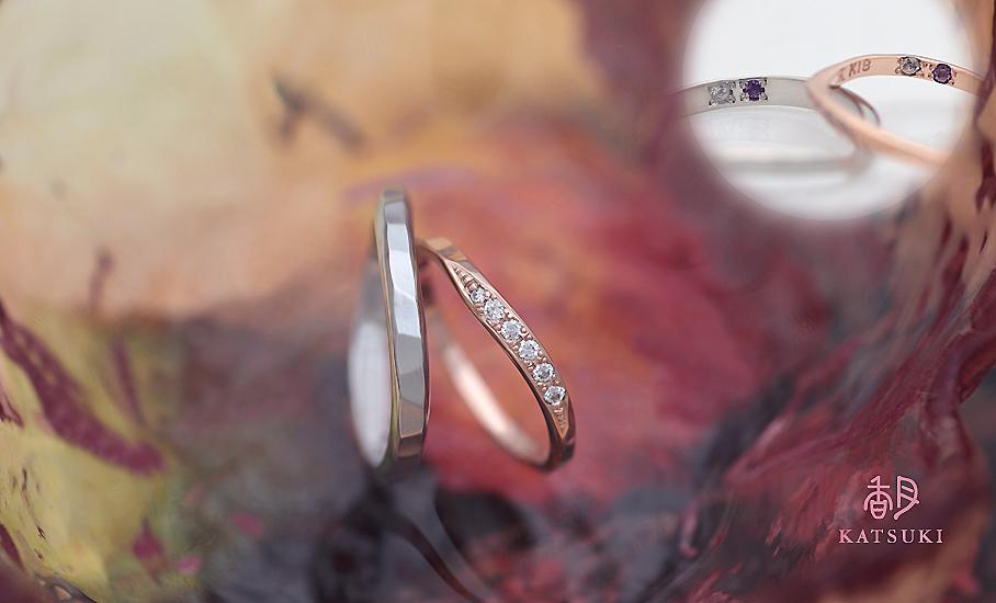 """オリジナル結婚指輪 """"ランコントレ&イストアール""""  ¥76.000-/税別~   ◆シルバー制作可:¥16.500/税別~"""