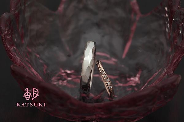 幅違い・素材違いの結婚指輪☆プラチナ&ピンクゴールド