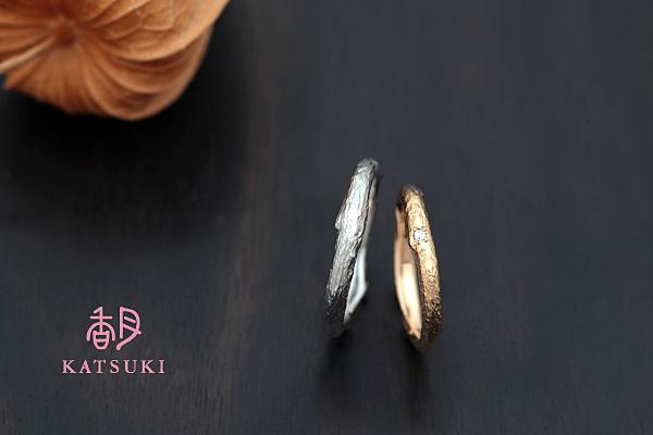 小枝モチーフの結婚指輪☆プラチナ&K20ピンクゴールド