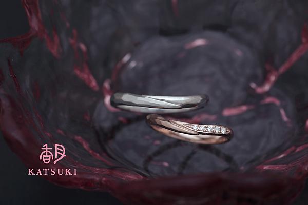 面取り(槌目)×ダイヤモンドの結婚指輪☆