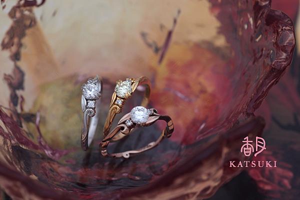 それぞれの素材が放つ個性☆婚約指輪