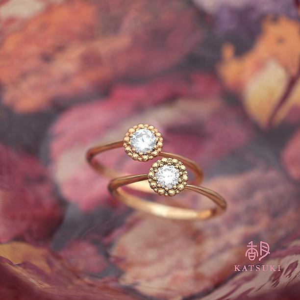 ふわふわの繭をイメージした婚約指輪