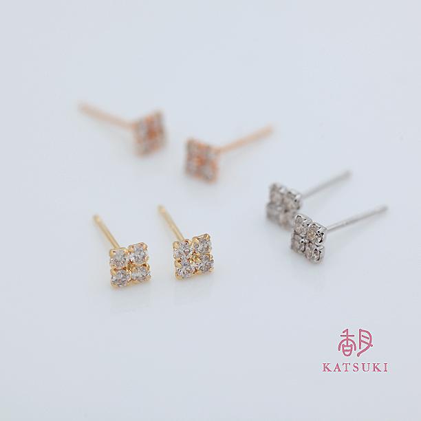 K18新作ダイヤピアス