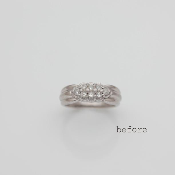 譲り受けられた8石のダイヤモンドが輝くリフォームリング