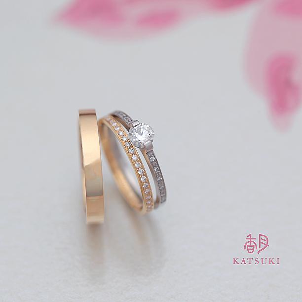 平打ストレートの婚約指輪&結婚指輪