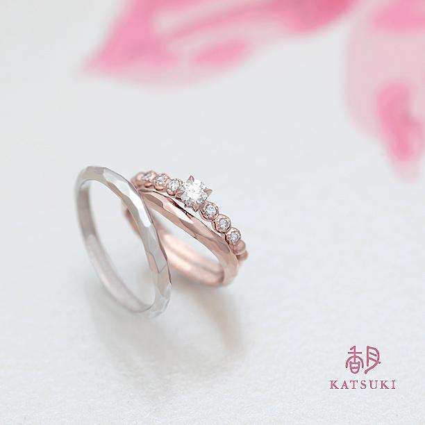 リフォームで誕生した婚約指輪とお洒落な結婚指輪