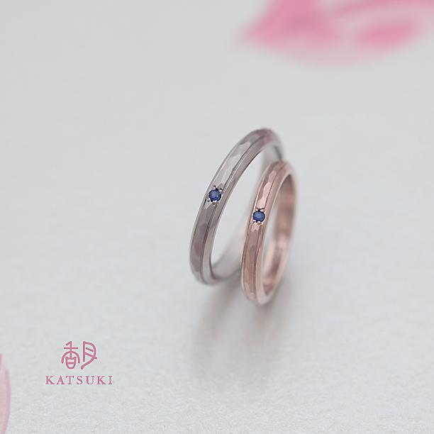ブルーサファイアをお留めした結婚指輪