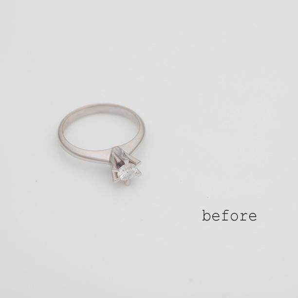 立爪の婚約指輪をネックレスにリフォーム