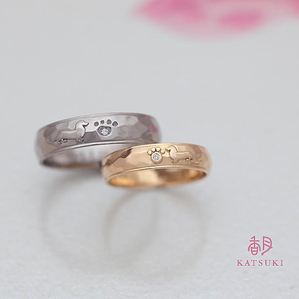 ミニチュアダックスフンドが愛らしい結婚指輪