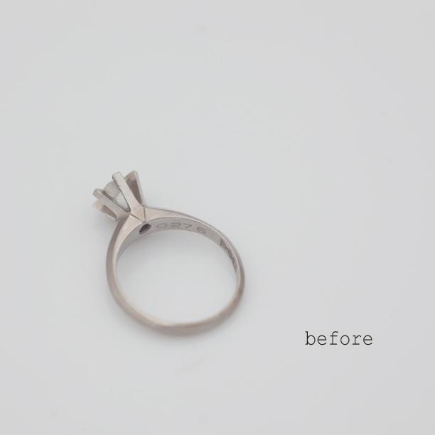 エメラルドが添えられ生まれ変わった立爪の婚約指輪(リフォーム)
