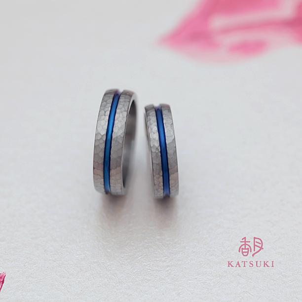 チタンの結婚指輪の再カラーリング(ブルー)