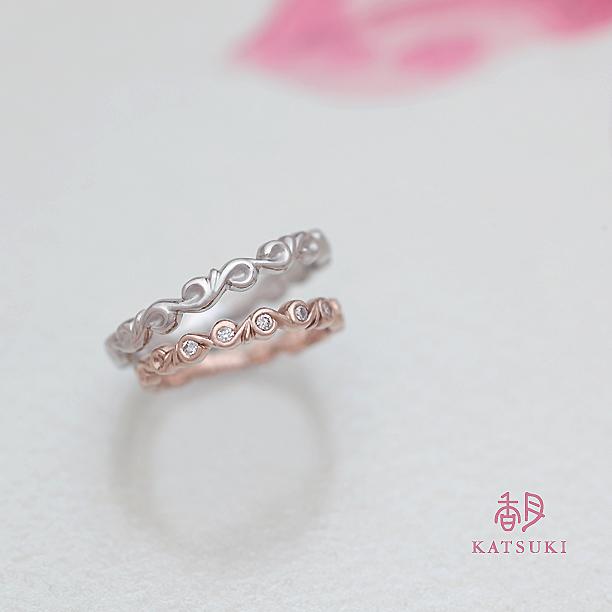 唐草に願いを込めた結婚指輪