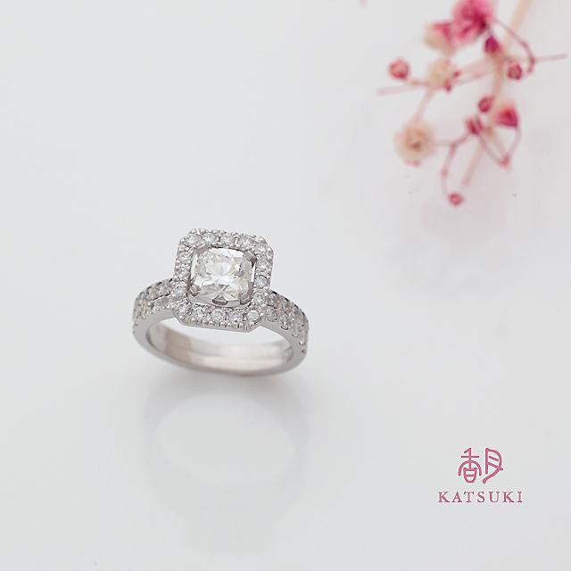お預かりしたダイヤモンドをお留めした豪華なセットリング