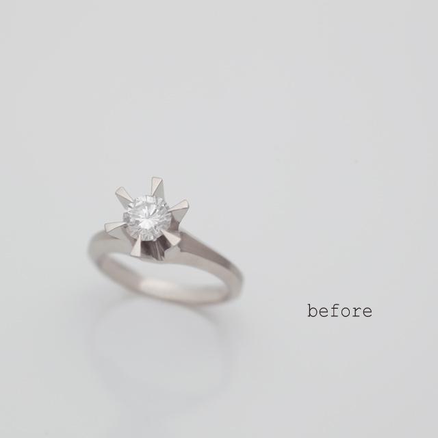 ご両親の立爪の婚約指輪を新しい婚約指輪にリフォーム