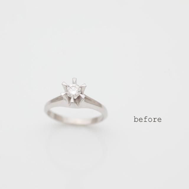 ご両親から受け継がれた立爪婚約指輪のリフォーム