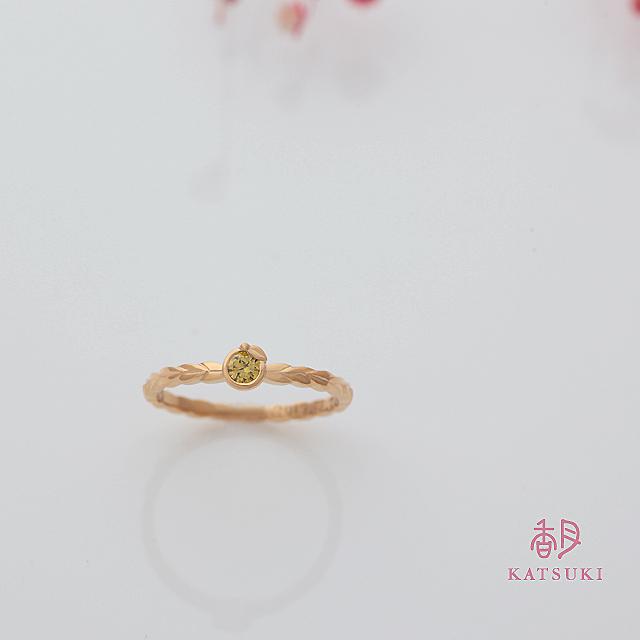ゆずをイメージしたイエローダイヤの婚約指輪