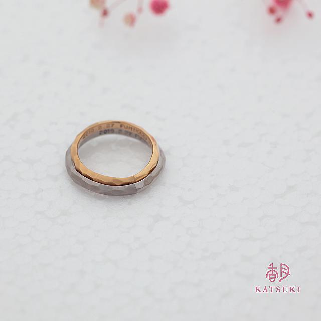 半周つや消し/半周つやありの結婚指輪