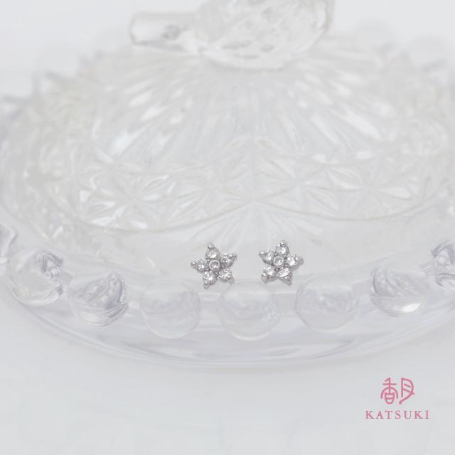 小さなダイヤモンドが大きな輝きを放つプラチナピアス