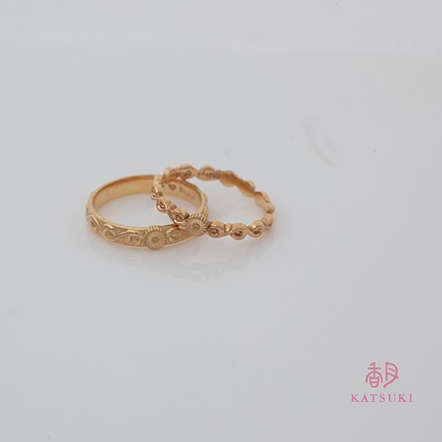ガーベラのワンポイントにこだわった結婚指輪
