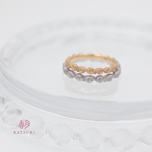 自然界のモチーフに願いを込めた結婚指輪【ベルガモット】