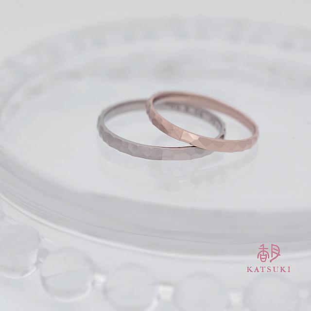 半周つやあり半周つや消し仕上げの結婚指輪【エタンセル】