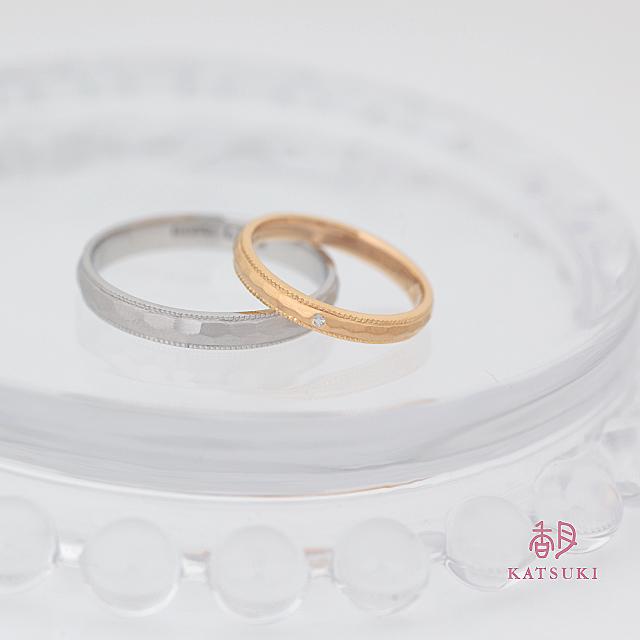 面取りとミルラインが輝きを放つ結婚指輪【フルオーダー】