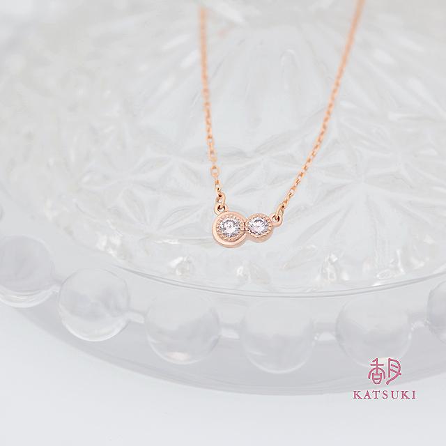 ピンクゴールドにピンクダイヤが輝くネックレス<リフォーム>