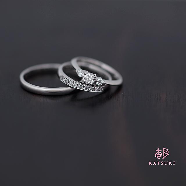 受け継がれたダイヤモンドが輝く婚約指輪と結婚指輪<リフォーム>