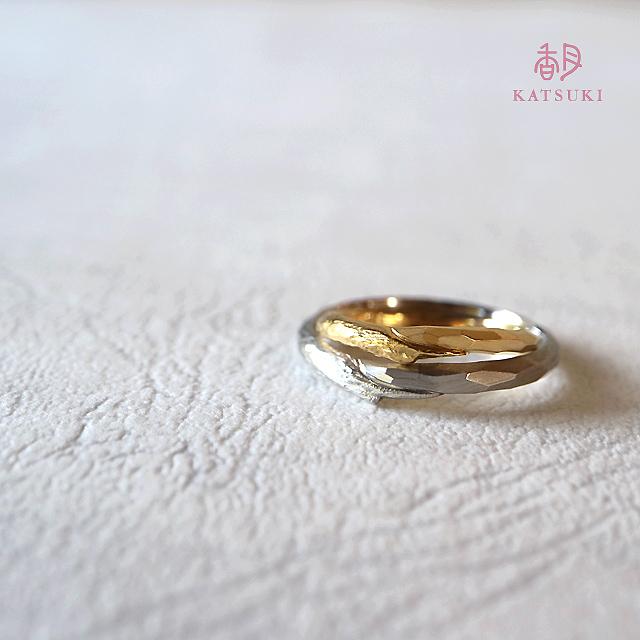 面取りと木目の結婚指輪【リミナンス】