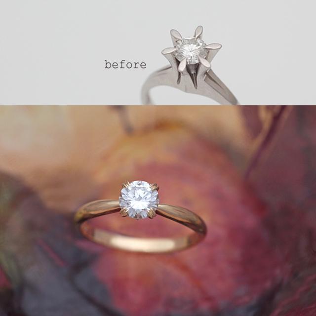 息子さんの結婚式にあわせて新しい指輪に<リフォーム>