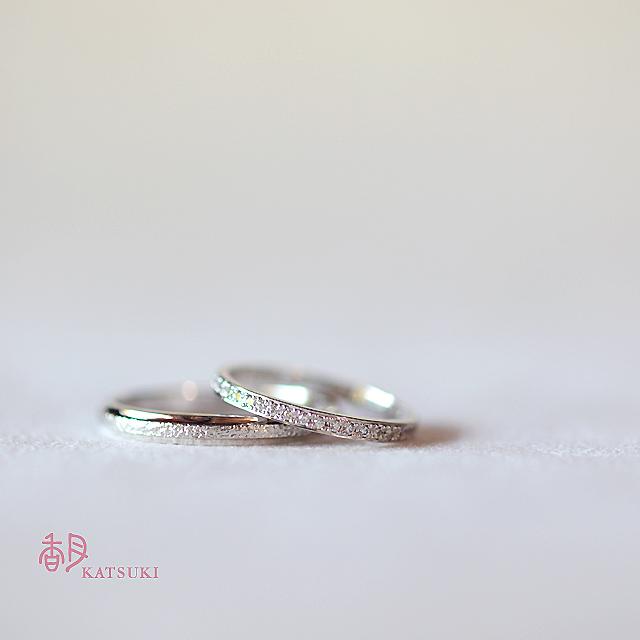それぞれのお好みでお選びいただいた結婚指輪【アンディマンシェ】&【トゥシェ】